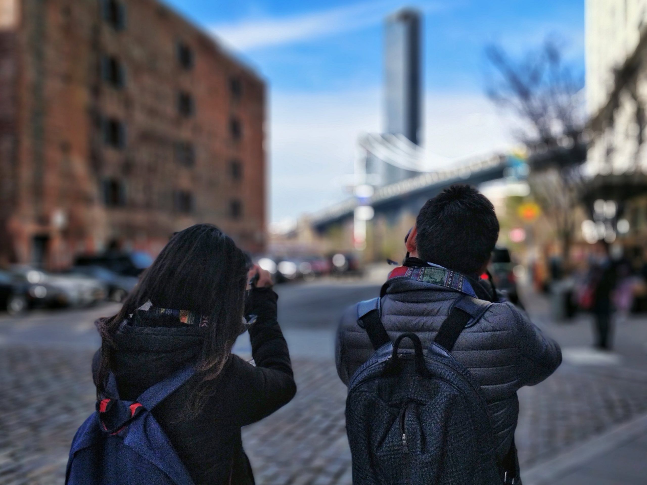 Tourists are photographing every corner of DUMBO area